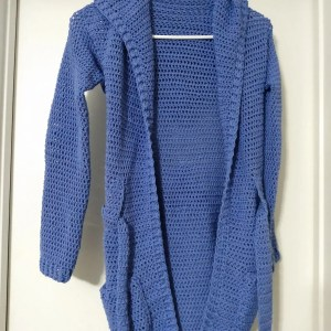 Crochet Cardigan One of a Kind Ready to Ship Periwinkle Extra Small