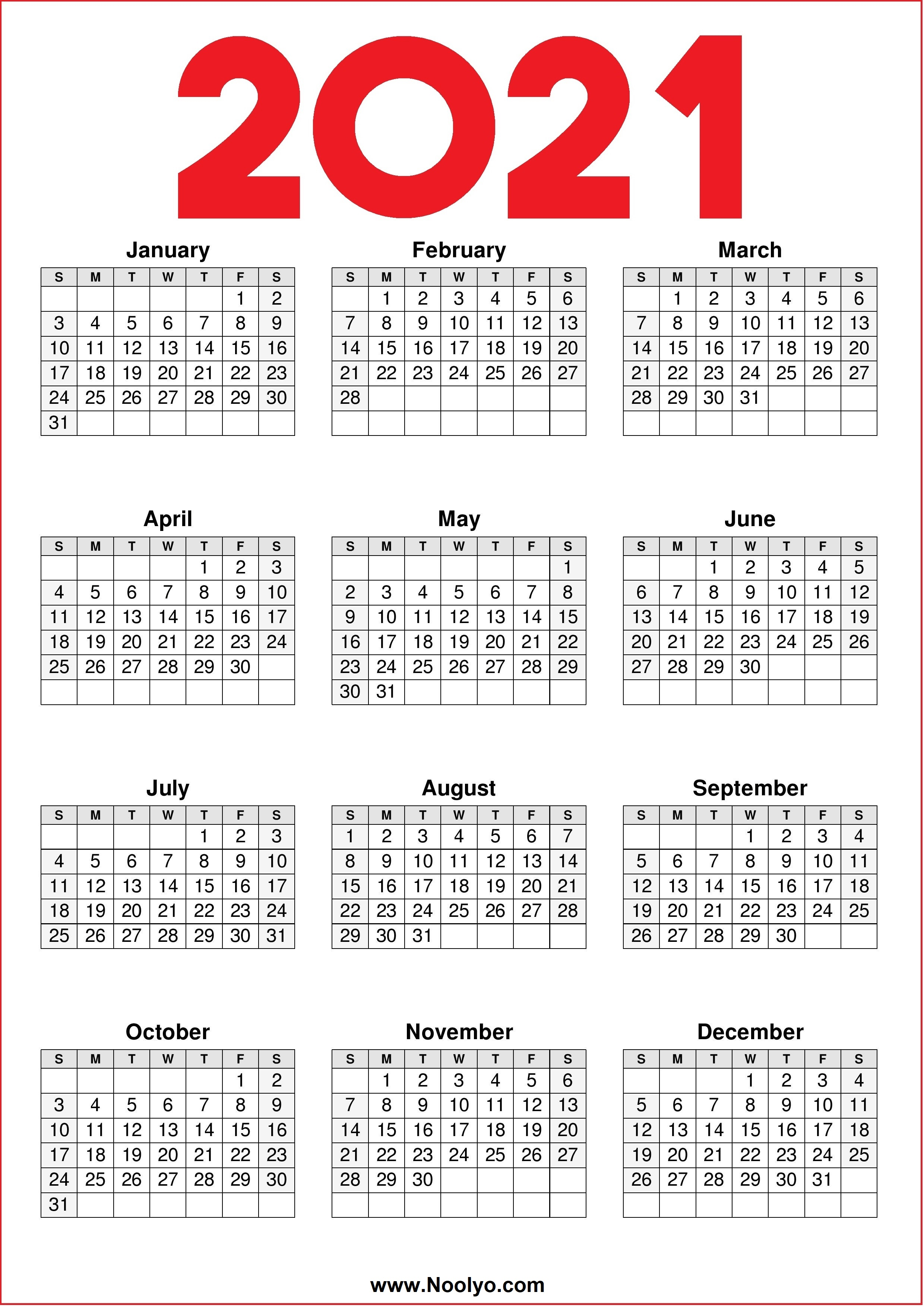 Free, easy to print pdf version of 2021 calendar in various formats. Free 2021 Yearly Calender Template : Calendar 2021 ...