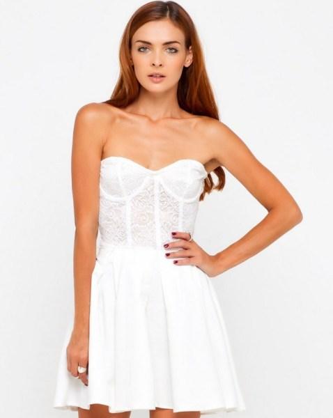Kleid Bandeau Corsage weiss
