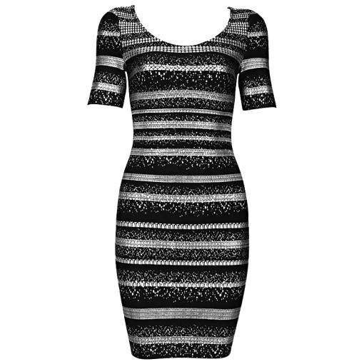 Bandage Bodycon Kleid schwarz silber