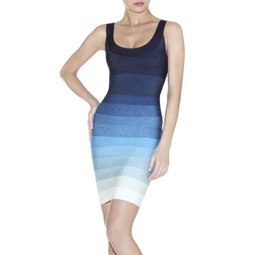 Bandage Bodycon Kleid blau ombré