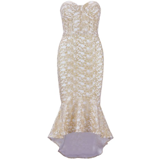 Bandage Bodycon Kleid weiss gold