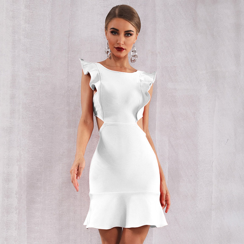 Weisses Sommerkleid in Mini-Länge mit Volants | noomi mode
