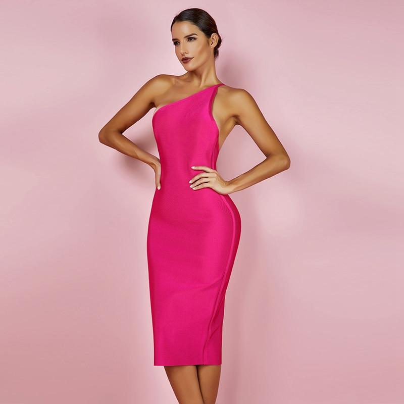 Modelbild One-Shoulder-Kleid pink