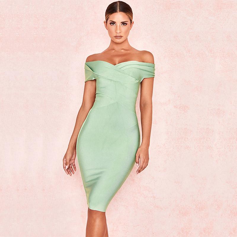 Produktbild Off-Shoulder Kleid mint von vorne