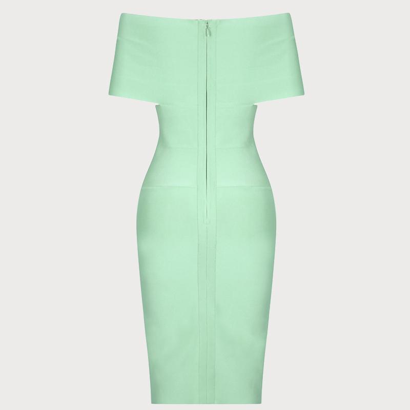 Produktbild Off-Shoulder Kleid mint von hinten