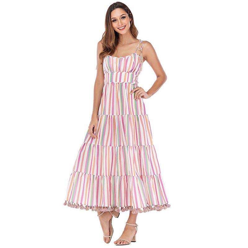 Modelbild Sommerkleid gestreift von vorne