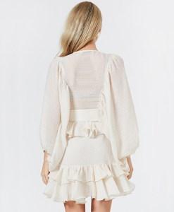 Modelbild Rüschenkleid elfenbein weiss Rückenansicht