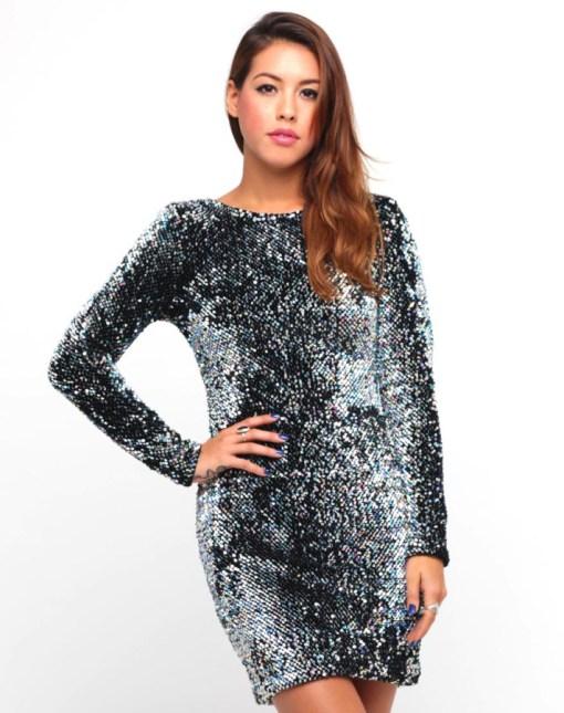 Kleid Mini Langarm Pailletten grau