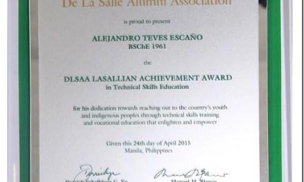 ALEJANDRO T. ECAñO (BSCHE 1961), 2015 DLSAA Lasallian Achievement Awardee