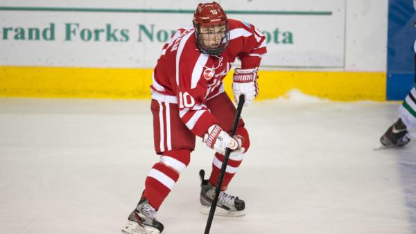 Boston University junior Danny O'Regan (Needham, Mass.) netted the game-winning goal on Friday that lifted the Terriers past Yale in the Northeast Region Semifinal. (Photo Credit: Boston Herald)
