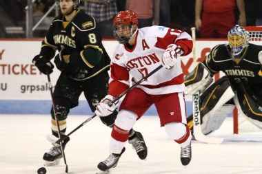 BU's Evan Rodrigues netted a pair of goals, which lifted the Terriers past Minnesota-Duluth this evening, 3-2, in the Northeast Regional Final. (Photo Credit: BU.edu)