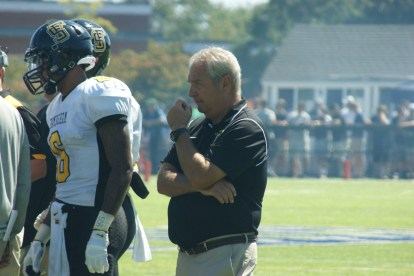 Framingham State University head coach Tom Kelley was happy with his team's week one victory, but knows week two will be a challenge against SUNY Cortland. (Photo Credit: Matt Noonan/NoontimeSports.com)