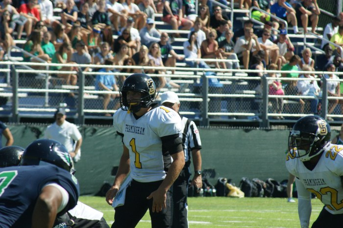 Framingham State University senior Matt Silva earned the New England Football Writer's Golden Helmet Award after an impressive showing in week two. (Photo Credit: Matt Noonan/NoontimeSports.com)