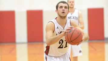 Anna Maria's Patrick Bradanese netted a career and season-high 30 points in the AMCATs' win over Suffolk last Saturday. (PHOTO CREDIT: Anna Maria College Athletics)