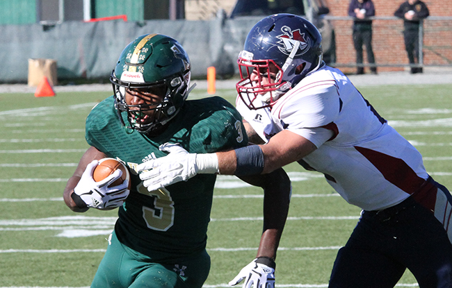 Husson's John Smith rushed for a season-best four scores as the Eagles soared past Dean, 43-23. (Photo Credit: Husson University Athletics)