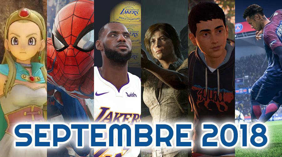 Le calendrier des sorties : Septembre 2018