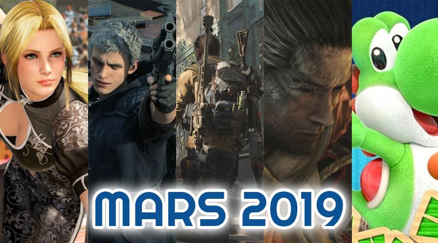Le calendrier des sorties : Mars 2019
