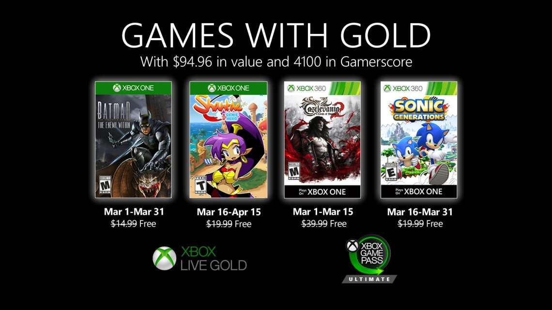 Xbox Games With Gold mars 2020
