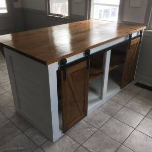 Kitchen island with Seating Lovely Custom Shiplap Kitchen island with Sliding Barn Doors and
