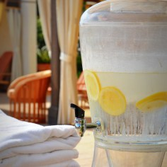 Refreshments by the spa pool