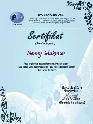sertifikat puisi bebas