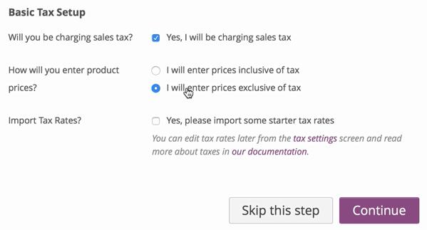 screenshot of WooCommerce base tax setup screen