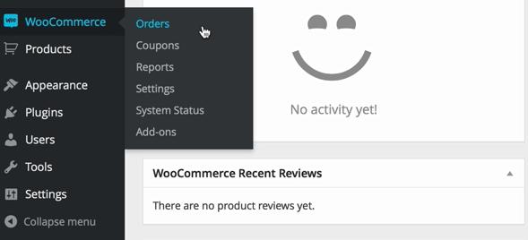 screenshot of WooCommerce plugins menu