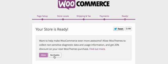 screenshot of WooCommerce ready screen