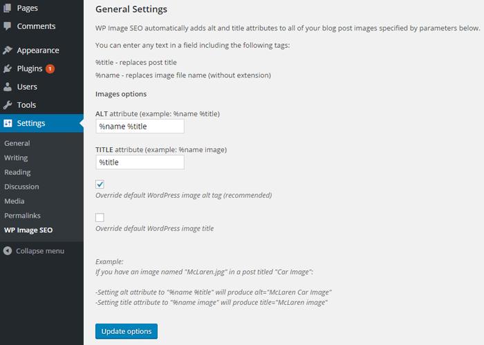 screenshot of WordPress Image SEO plugin settings