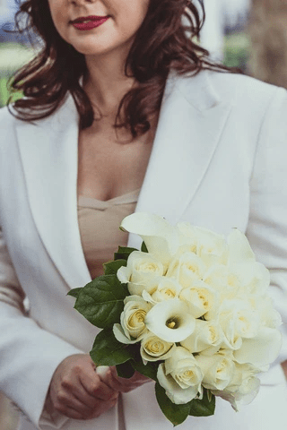 Close up of tailored made to measure bridal suit