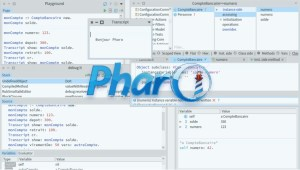 Pharo logo with Pharo 8 tools in the background