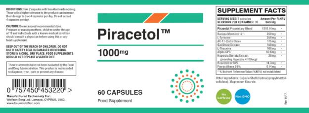 Piracetol Ingredients Label