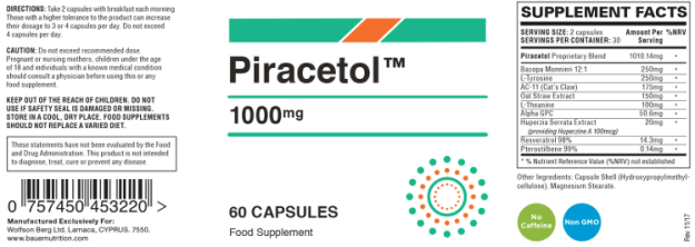 Piracetol Label With Ingredients