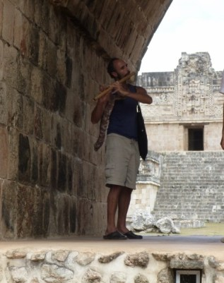 Flute player amongst the Mayan Ruins of Uxmal - Mexico