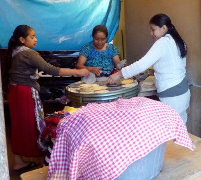 Mayan women making tortillas- Antigua,Guatemala