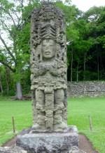 A stelae in the Grand Plaza - Copan Mayan Ruins,Honduras