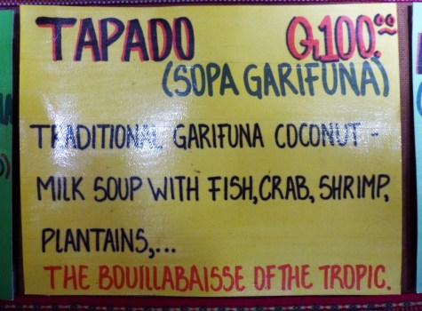 Traditional Garifuna lopster soup in coconut milk - Good food - a bit messy but good! Livingston