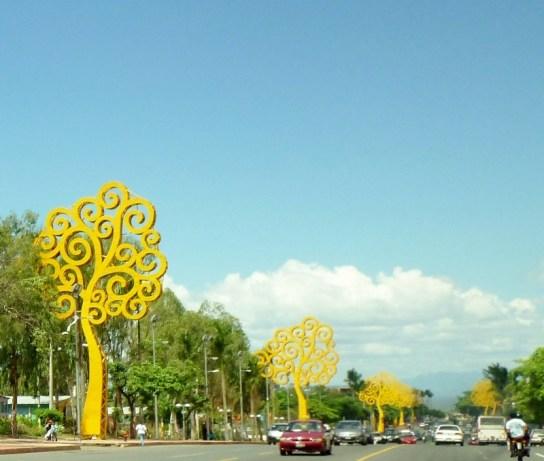 Yellow metal trees line La Bolivar Avenida - Managua