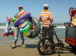 beach vendors at Cartagena beach, Colombia
