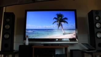 "Looped beach video from YouTube + Pandora ""Beach Bar music"" station = setting the mood."