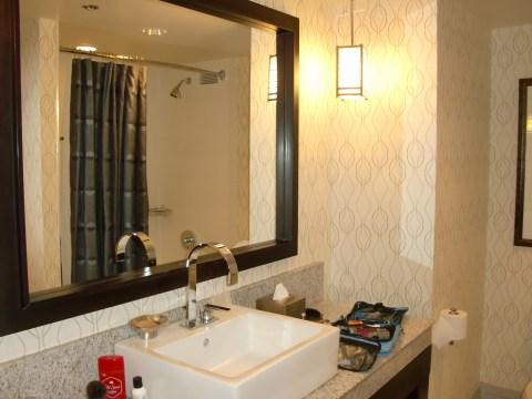 Tiny bathroom with plastic shower.