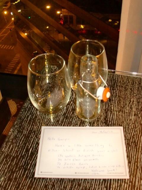 What's left of John Stanton's welcome drink.