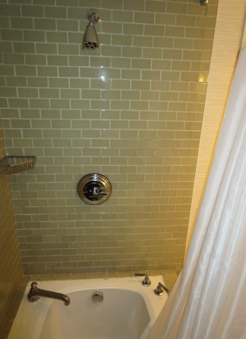 Curtain over a tub.  Uh oh.