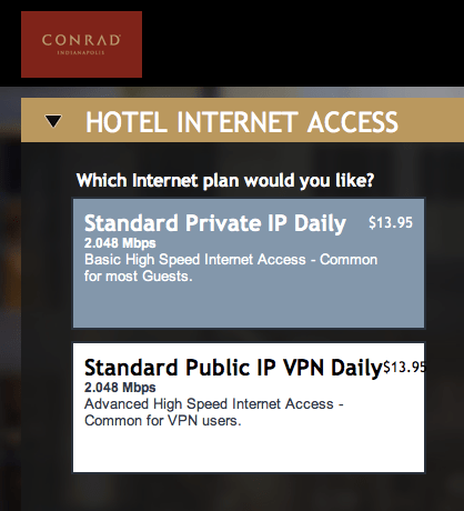 Argh.  Internet, water and oxygen cost $$ at the Conrad.