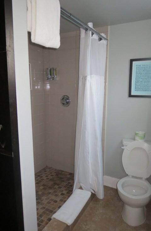 Nice tile.  Nice space. Curtain?!  No no no.
