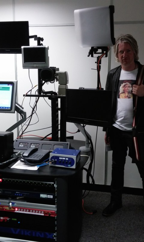 Remote TV studio modeled by a fellow high geek