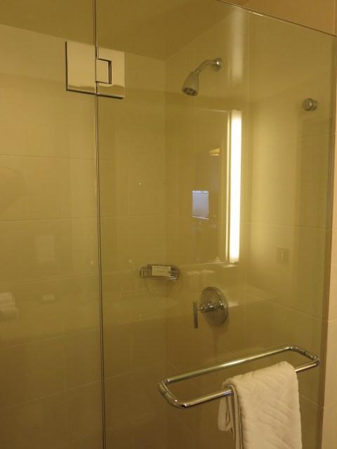 Hilton has a glass shower.