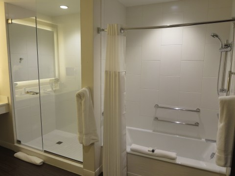 Bathub AND large glass shower cube