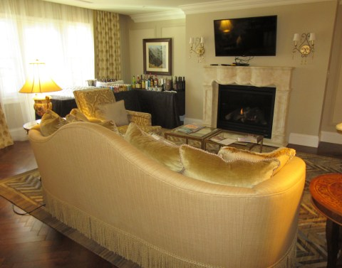 Fireplace and bar corner: Suite 4500, The Broadmoor